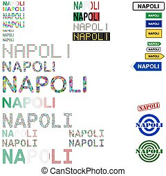 Napoli Naples text design set - writings, boards, stamps