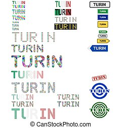 Turin Torino text design set - writings, boards, stamps