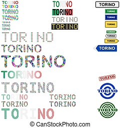 Torino Turin text design set - writings, boards, stamps