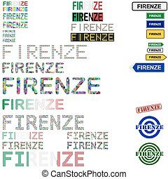 Firenze Florence text design set - writings, boards, stamps...