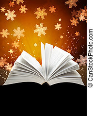 Christmas background with magic book