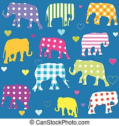 Patterned elephants, background for kids