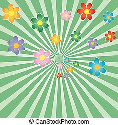 Sunburst background with flowers - Retro sunburst background...