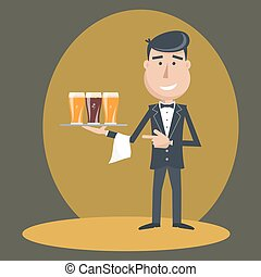 Waiter with three glasses of beer. - Waiter with three...