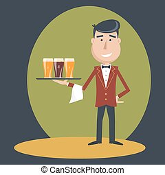 Waiter with three glasses of beer - Waiter with three...