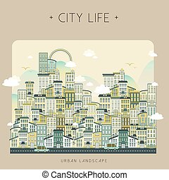 lovely city life landscape in flat style