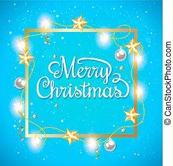 Christmas frame on a blue background