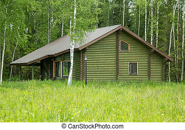 log house on the outskirts of forest - log house on the...