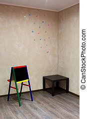 children chalkboard at a wall with painted butterflies -...