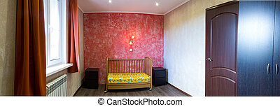 cot in a bedroom at the red wall - a cot in the bedroom at...