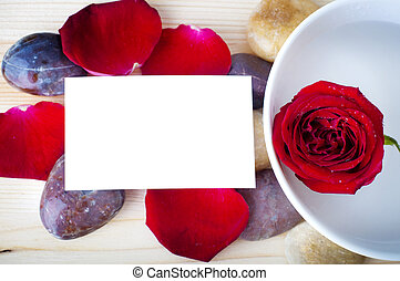 Rose petal spa - Rose, pebble and a blank card