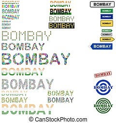 Bombay Mumbai text design set - writings, boards, stamps