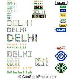 Delhi Dilli text design set - writings, boards, stamps