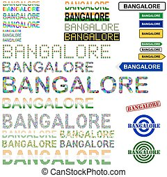 Bangalore Bengaluru text design set - writings, boards,...