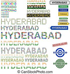 Hyderabad text design set - writings, boards, stamps