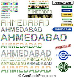 Ahmedabad text design set - writings, boards, stamps