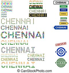 Chennai Madras text design set - writings, boards, stamps