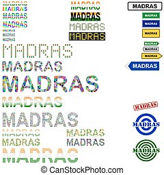 Madras (Chennai) text design set - writings, boards, stamps