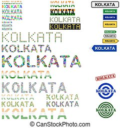 Kolkata Calcutta text design set - writings, boards, stamps...