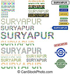 Suryapur (Surat) text design set - writings, boards, stamps