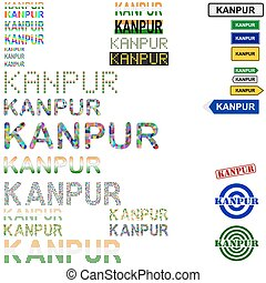 Kanpur (Cawnpore) text design set - writings, boards, stamps