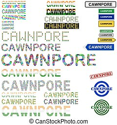Cawnpore Kanpur text design set - writings, boards, stamps