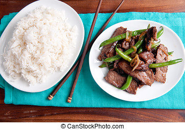 spicy thai beef and green bean with white rice - spicy thai...