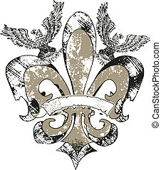 eagles on fleur de lis emblem