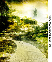 0z 2 - yellow brick road leading to emerald city