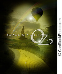oz 4 with dorothy and text - emerald city and balloon from...