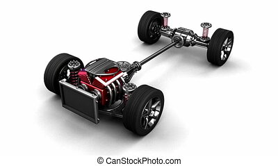 car chassis with engine - loop rotate isolated car chassis...