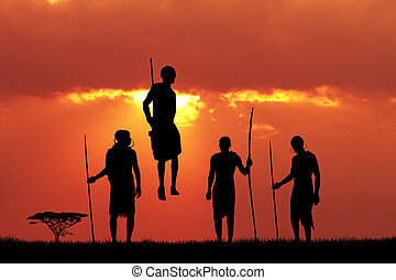 Masai dance at sunset - illustration of Masai dance at...