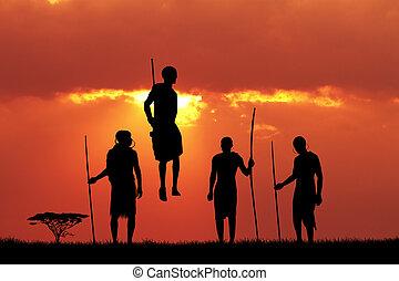 Masai dance at sunset - illustration of Masai dance at...