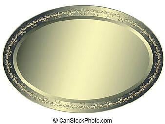Oval metallic silvery plate with vintage ornament on edges