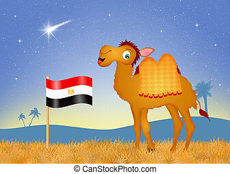 camel with flag Egypt - illustration of camel with flag...