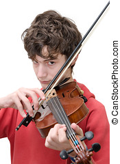 Teenager playing violin isolated on pure white