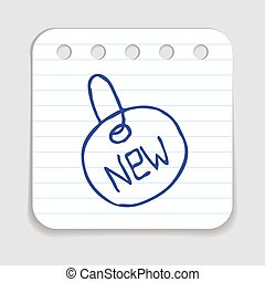 Doodle Tag icon. Blue pen hand drawn infographic symbol on a...