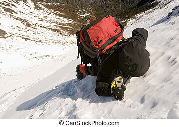 mountain climber - Man of mountain climber struggle walking...