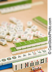 Gambling in Chinese-Mahjong-traditional game with friends.