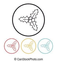 lijn, krans, Kerstmis, pictogram