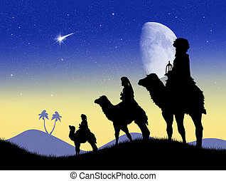 three wise men - illustration of three wise men on camels
