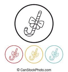 lijn, stok, versuikeren, pictogram
