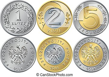 Set Polish Money one, two and five zloty coins