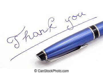 Thank you note on white background by blue ink