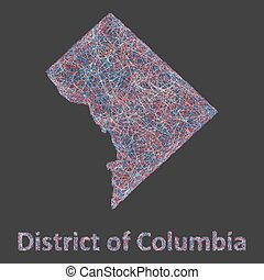 District of Columbia line art map- red, blue and white on...