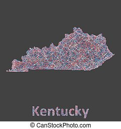 Kentucky line art map - red, blue and white on black...