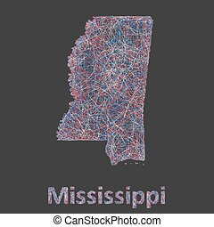 Mississippi line art map - red, blue and white on black...