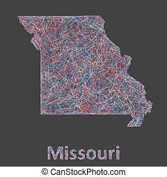 Missouri line art map - red, blue and white on black...