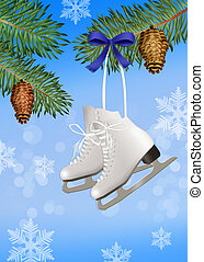 ice skates on tree