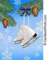 ice skates on tree